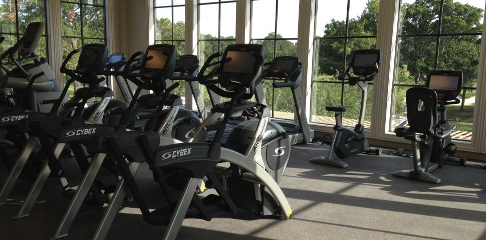 A fitness center at a country club